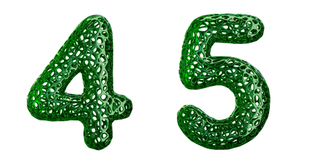 Number set 4, 5 made of green plastic. Collection symbols of plastic with abstract holes isolated on white background 3d rendering