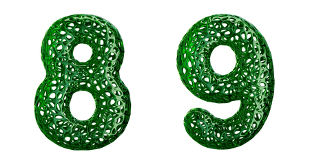 Number set 8, 9 made of green plastic. Collection symbols of plastic with abstract holes isolated on white background 3d rendering Stock Photo