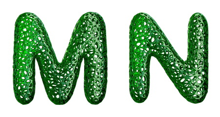 Realistic 3D letters set M, N made of green plastic. Collection symbols of plastic with abstract holes isolated on white background 3d rendering