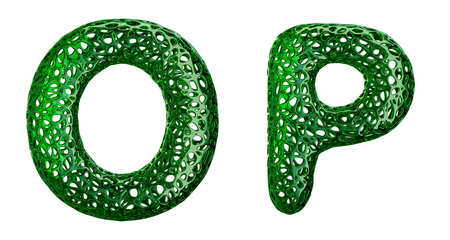 Realistic 3D letters set O, P made of green plastic. Collection symbols of plastic with abstract holes isolated on white background 3d rendering