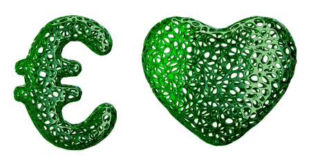 Symbol collection euro and heart made of green plastic. Collection symbols of plastic with abstract holes isolated on white background. 3d rendering