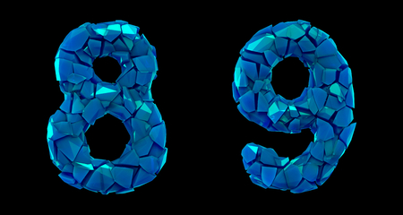 Number set 8, 9 made of 3d render plastic shards blue color. Collection of plastic number isolated on black. Stock Photo - 128630855
