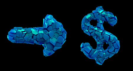 Symbol collection arrow and dollar made of 3d render plastic shards blue color. Collection of plastic symbol isolated on black background Stock Photo