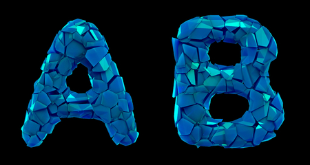 Letter set A, B made of 3d render plastic shards blue color. Collection of plastic alphabet isolated on black.