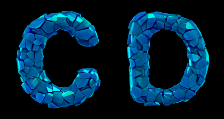 Letter set C, D made of 3d render plastic shards blue color. Collection of plastic alphabet isolated on black. Stock Photo - 128630862