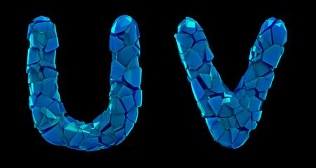 Letter set U, V made of 3d render plastic shards blue color. Collection of plastic alphabet isolated on black.