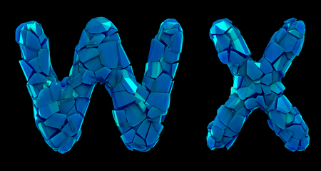 Letter set W, X made of 3d render plastic shards blue color. Collection of plastic alphabet isolated on black.