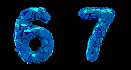 Number set 6, 7 made of 3d render plastic shards blue color. Collection of plastic number isolated on black.