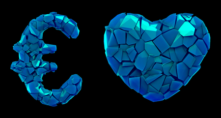 Symbol collection euro and heart made of 3d render plastic shards blue color. Collection of plastic symbol isolated on black background