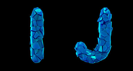 Letter set I, J made of 3d render plastic shards blue color. Collection of plastic alphabet isolated on black. Stock Photo