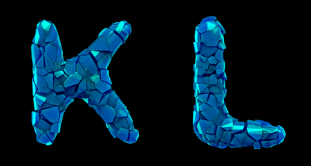 Letter set K, L made of 3d render plastic shards blue color. Collection of plastic alphabet isolated on black. Stock Photo