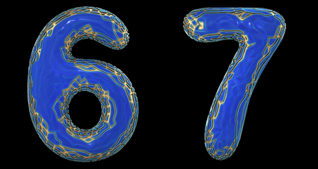 Number set 6, 7 made of realistic 3d render golden shining metallic. Collection of gold shining metallic with blue color plastic symbol isolated on black background