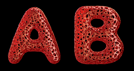 Realistic 3D letters set A, B made of red plastic. Collection symbols of plastic with abstract holes isolated on black background 3d rendering