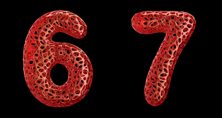 Number set 6, 7 made of red plastic. Collection symbols of plastic with abstract holes isolated on black background 3d rendering