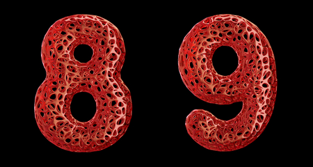 Number set 8, 9 made of red plastic. Collection symbols of plastic with abstract holes isolated on black background 3d rendering Stock fotó