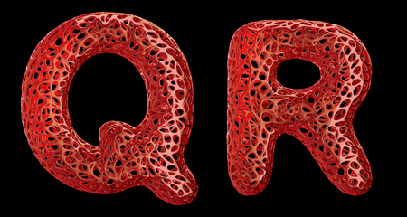 Realistic 3D letters set Q, R made of red plastic. Collection symbols of plastic with abstract holes isolated on black background 3d rendering