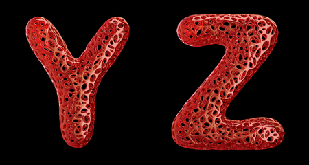 Realistic 3D letters set Y, Z made of red plastic. Collection symbols of plastic with abstract holes isolated on black background 3d rendering