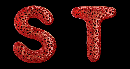 Realistic 3D letters set S, T made of red plastic. Collection symbols of plastic with abstract holes isolated on black background 3d rendering
