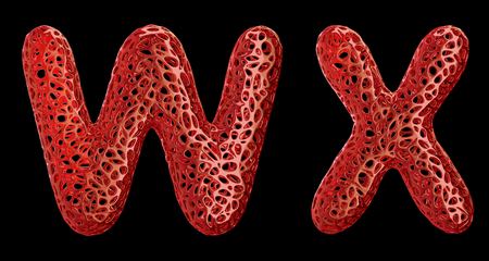 Realistic 3D letters set W, X made of red plastic. Collection symbols of plastic with abstract holes isolated on black background 3d rendering Stock fotó