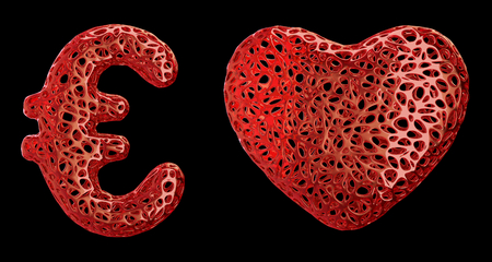 Symbol collection euro and heart made of red plastic. Collection symbols of plastic with abstract holes isolated on black background. 3d rendering