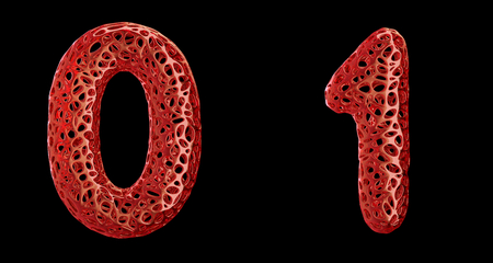 Number set 0, 1 made of red plastic. Collection symbols of plastic with abstract holes isolated on black background 3d rendering