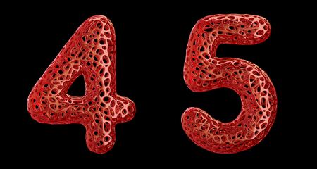 Number set 4, 5 made of red plastic. Collection symbols of plastic with abstract holes isolated on black background 3d rendering