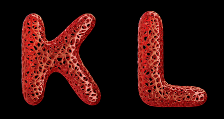 Realistic 3D letters set K, L made of red plastic. Collection symbols of plastic with abstract holes isolated on black background 3d rendering