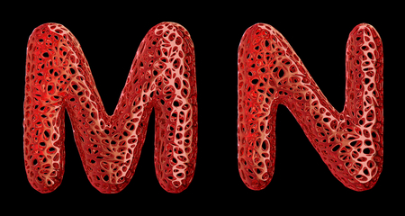 Realistic 3D letters set M, N made of red plastic. Collection symbols of plastic with abstract holes isolated on black background 3d rendering