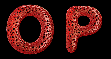 Realistic 3D letters set O, P made of red plastic. Collection symbols of plastic with abstract holes isolated on black background 3d rendering Stock fotó