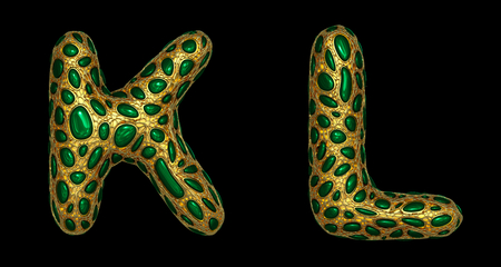 Letter set K, L made of realistic 3d render golden shining metallic. Collection of gold shining metallic with green color glass symbol isolated on black background