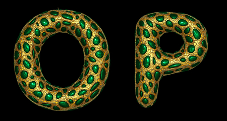 Letter set O, P made of realistic 3d render golden shining metallic. Collection of gold shining metallic with green color glass symbol isolated on black background Фото со стока