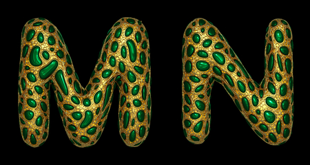 Letter set M, N made of realistic 3d render golden shining metallic. Collection of gold shining metallic with green color glass symbol isolated on black background Фото со стока