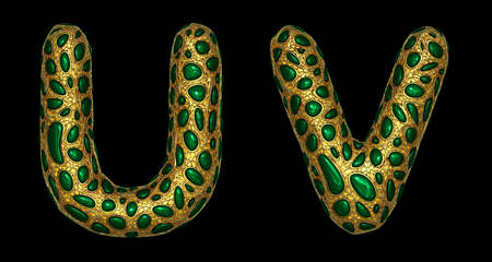 Letter set U, V made of realistic 3d render golden shining metallic. Collection of gold shining metallic with green color glass symbol isolated on black background Фото со стока