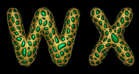 Letter set W, X made of realistic 3d render golden shining metallic. Collection of gold shining metallic with green color glass symbol isolated on black background