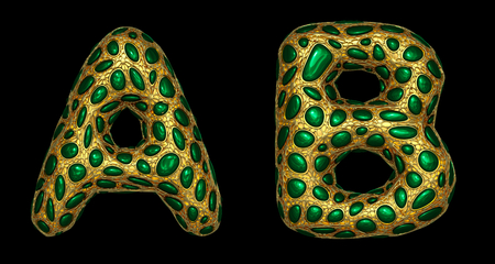 Letter set A, B made of realistic 3d render golden shining metallic. Collection of gold shining metallic with green color glass symbol isolated on black background