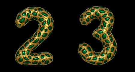 Number set 2, 3 made of realistic 3d render golden shining metallic. Collection of gold shining metallic with green color glass symbol isolated on black background