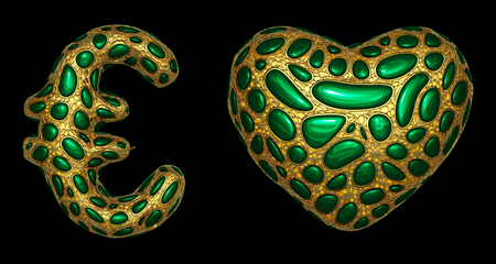 Symbol collection euro and heart made of realistic 3d render golden shining metallic. Collection of gold shining metallic with green color glass symbol isolated on black background