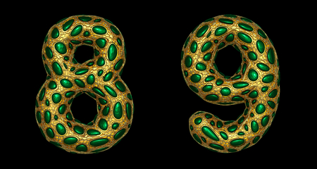 Number set 8, 9 made of realistic 3d render golden shining metallic. Collection of gold shining metallic with green color glass symbol isolated on black background