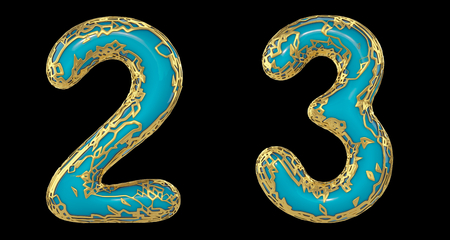 Number set 2, 3 made of realistic 3d render golden shining metallic. Collection of gold shining metallic with turquoise color plastic symbol isolated on black background Stock fotó