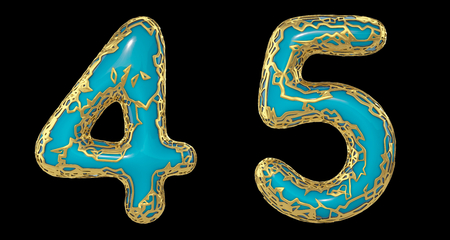 Number set 4, 5 made of realistic 3d render golden shining metallic. Collection of gold shining metallic with turquoise color plastic symbol isolated on black background