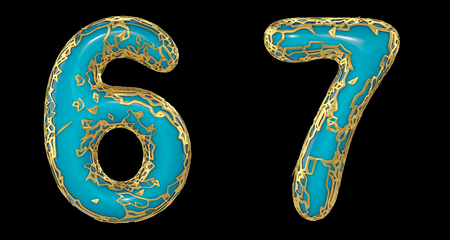 Number set 6, 7 made of realistic 3d render golden shining metallic. Collection of gold shining metallic with turquoise color plastic symbol isolated on black background Stock fotó