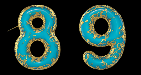 Number set 8, 9 made of realistic 3d render golden shining metallic. Collection of gold shining metallic with turquoise color plastic symbol isolated on black background