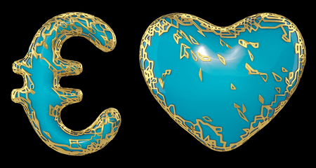 Symbol collection euro and heart made of golden shining metallic. Collection of gold shining metallic with turquoise paint symbol isolated on black background. 3d rendering Фото со стока