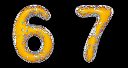 Number set 6, 7 made of realistic 3d render silver shining metallic. Collection of silver shining metallic with yellow color plastic symbol isolated on black background