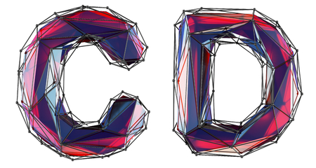 Realistic 3D letters set C, D made of low poly style. Collection symbols of low poly style red color glass isolated on white background 3d rendering Stockfoto