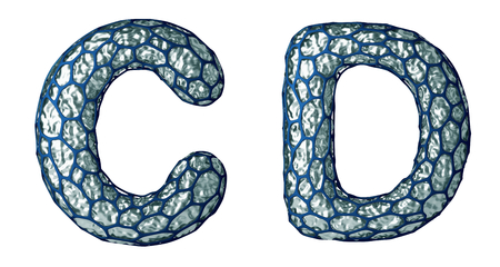Realistic 3D letter set C, D made of silver shining metal. Collection of silver shining metallic with blue cage symbol isolated on white background