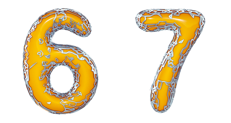Number set 6, 7 made of realistic 3d render silver shining metallic. Collection of silver shining metallic with yellow color plastic symbol isolated on white background