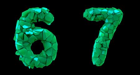 Number set 6, 7 made of 3d render green color.