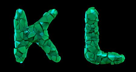 Letter set K, L made of 3d render plastic shards green color.
