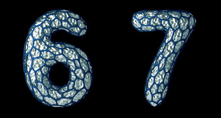 Number set 6, 7 made of realistic 3d render silver shining metallic. 写真素材